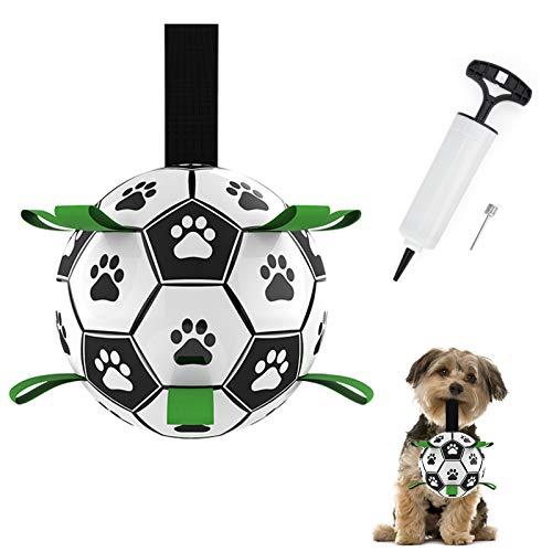 HONEYWHALE Hundespielzeug, Fußballball mit Greiflaschen, interaktives Hundespielzeug mit Ballpumpe und Nadel, 15,2 cm, langlebiges Hundespielzeug für kleine und mittelgroße Hunde
