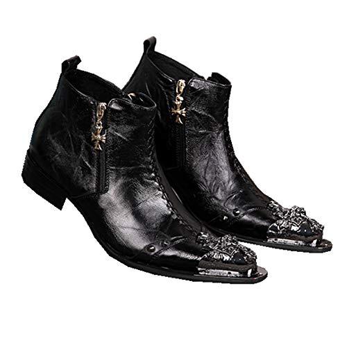ZPML Cowboy Hombres Tobillo Botas de Vaquero Cuero Botines Motorista Punta de Metal en Punta Negro Boda Zapatos de Vestir de Uniforme,Black,EU43/UK9