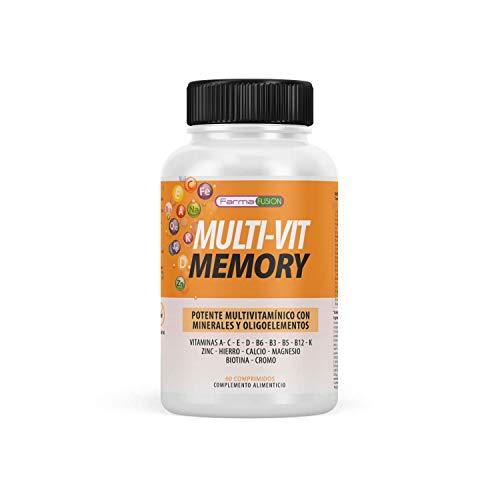 Potente Multivitamínico | Vitaminas, minerales y oligoelementos | Multivitamínico con vitaminas C, E, B3, B5, A, B6, B2, B1, B9, B12, D3, zinc y hierro | Mejora y fortalece la memoria | 60 comprimidos
