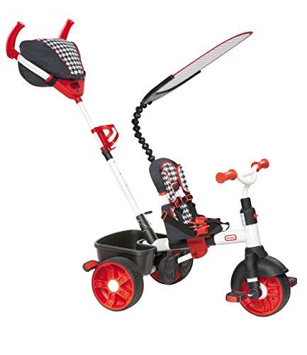 Little Tikes 634345E4 - Triciclo 4 in 1 con maniglia di spinta, edizione sportiva, colore: Rosso/Bianco