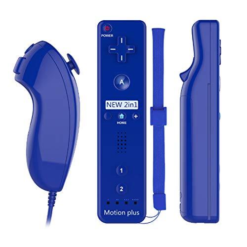 AOKO - Mando a distancia y joystick Nunchuck compatible con wii/wii u, Motion Plus, controlador con funda de silicona y correa de...