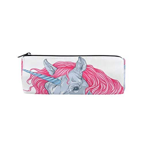 Trousse Supports de forme cylindrique mignon Licorne Rose Cheveux Pen papeterie Pouch Sac avec fermeture à glissière Maquillage
