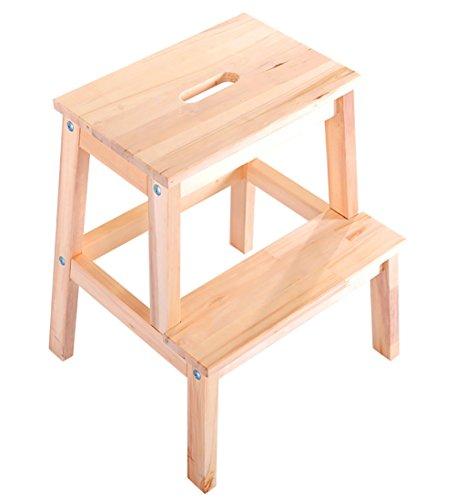 WUDENG Tabouret échelle à double usage en bois massif 2 couches avec trou banc à chaussures 2 couleurs, 45x25x50cm (Couleur : Natural color)