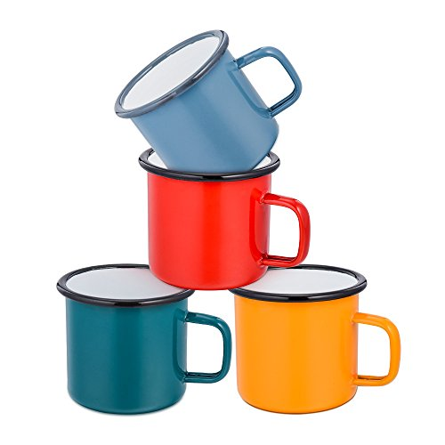 HaWare - Juego de 4 tazas de té esmaltadas, color rojo/amarillo/azul/verde, ideal para el hogar/oficina/viajes/camping, reutilizable, 350 ml (12 onzas)