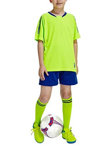 besbomig Jungen Fussball Trikots Set Kind Team Training Wettbewerb Sportbekleidung - Kurze Ärmel T-Shirt & Shorts und Socken Soccer Uniforms