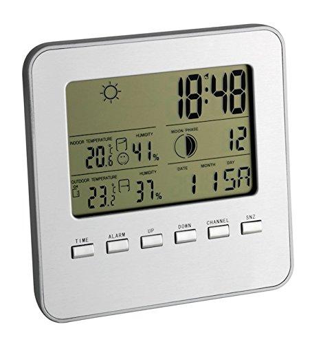TFA Dostmann Quadro Funk-Wetterstation, Außentemperatur, Innentemperatur, Mondphasen, Raumklima, Uhrzeit