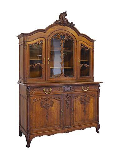 Antiker Vitrinenschrank Louis Philippe um 1870 aus Eiche | Vitrine Buffetschrank Küchenschrank | 5-türig 2 Schubladen | B: 161 cm (9733)