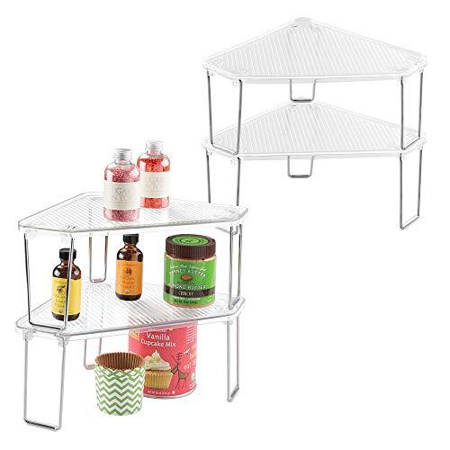 mDesign Juego de 4 rinconeras de cocina – Estantería esquinera plástica y multiuso para armarios – Repisa apilable con estantes de cocina para vajilla, conservas y más – transparente/plateado