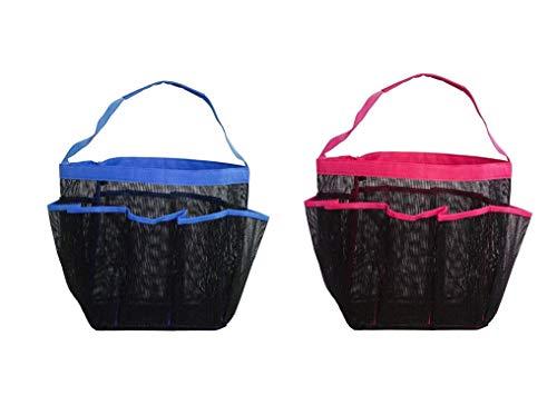 Dusch Netz Tasche,2er Pack Wasserdichte Mesh Shower Bag mit 8 Taschen und Tragegriff Dusche Caddy Tragetasche für Reise Schwimmcamp Pflegeprodukte Fitnessstudio Rot Blau