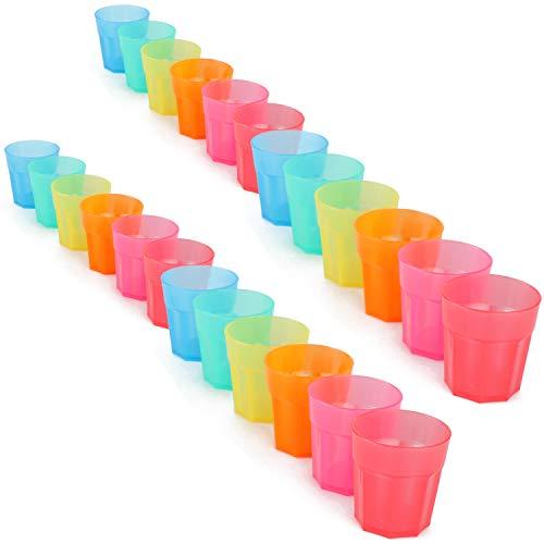 com-four® 24x Stabile Mehrweg Schnapsgläser aus Kunststoff - wiederverwendbare Shot-Gläser in bunten Farben - ideal für Geburtstage und Party