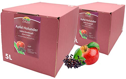 Bleichhof Apfel-Holunder Direktsaft - 100% Direktsaft, OHNE Zuckerzusatz, mit Zapfsystem (2x 5l Saftbox)