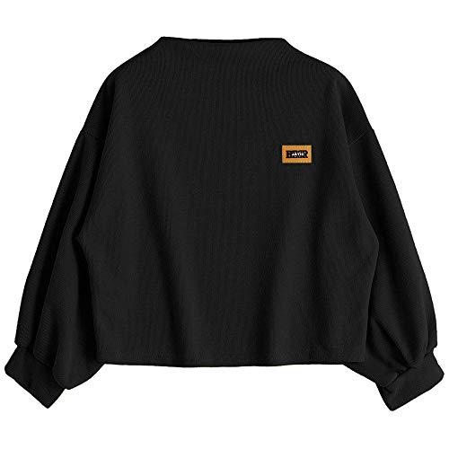 HOTHONG Femme Sweat à Capuche T-Shirt Haut Col Rond Chemisier Tops avec Cordon Blouse Mode Couleur Unie Lache Shirts Chic Fille Sweatshirt