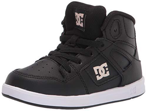 DC Girls Pure HIGH-TOP Skate Shoe, Black/Pink, 10 Toddler