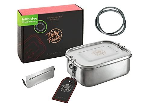 FullyFresh! | NOUVEAU | Lunch Box Inox (cloison flexible), étanche et sans plastique, 1.000ml | Boîte à lunch, Boîte Bento Inox, Boite a dejeuner | Idéale pour l'enfant et l'école | Conçu en Allemagne