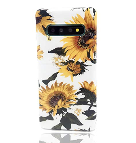 LEMONCOVER Phone Case for Galaxy S10 Plus,Cute Flowers Pattern Print Soft Silicone Case Thin Slim Shockproof Tropical Design Bumper Shell Cover for Galaxy S10 Plus, Sun Flower