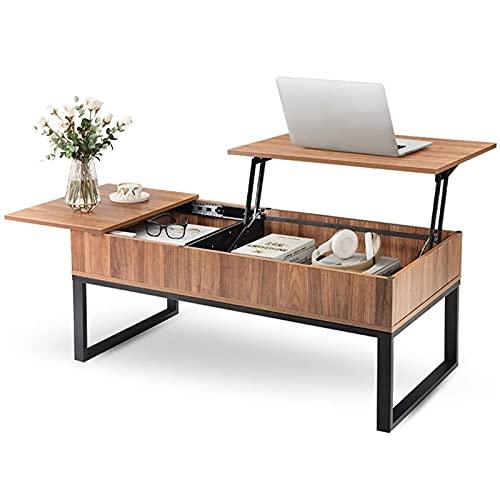 Mesa de centro de top de elevación de madera con compartimento de almacenamiento oculto, cajón lateral y marco de metal, mesa de comedor de tablero de ascensor para hogar, sala de estar, oficina