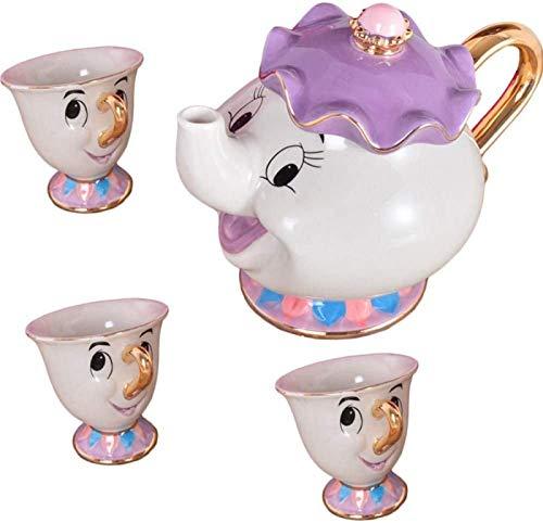 XINWANG Deslumbrante Bella y La Bestia Mrs Potts Ceramics Tetera Dorada Taza de Té,Tetera, Purple-3