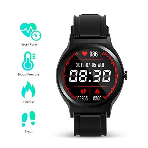 GOKOO Smartwatch Herren Damen Voll-Touchscreen IP67 Fitness Activity Tracker mit Herzfrequenz Schlafmonitor SMS Erinnerung Schrittzahlermeldung für Männer und Frauen fuir Android ios