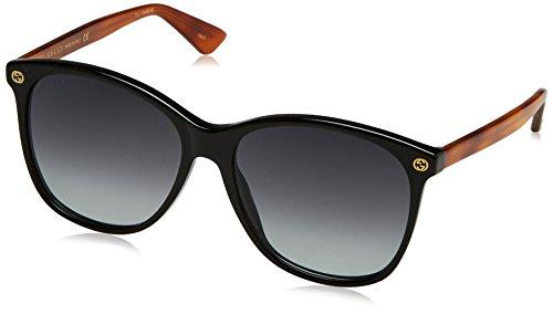 Gucci GG0024S 003 Occhiali da Sole, Nero (Black/Grey), 58 Donna
