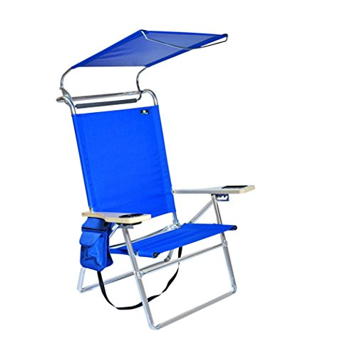 Deluxe 4 Reclining Positions Lightweight High Aluminum Beach Chair with Canopy Shade, Drink Holder, Storage Pouch