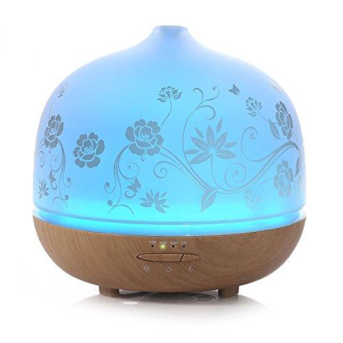 ISELECTOR Diffuseur d'Huiles Essentielles 500ml avec Lampe LED de 7 Couleurs Changeables Humidificateur Ultrasonique avec Fonction d'Arrêt Automatique Diffuseur Aromathérapie en Verre