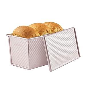 CHEFMADE 食パン 型 バレンタイン・デー パン型 フタ付き 波紋型 パン焼 ベイクウェア 粘りにくい食パンケース