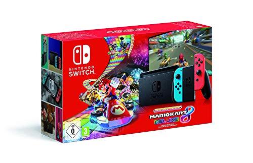 Nintendo Switch - Consola Nintendo Switch Rojo   Azul neón (Modelo 2019) + Mario Kart 8 Deluxe - Edición limitada