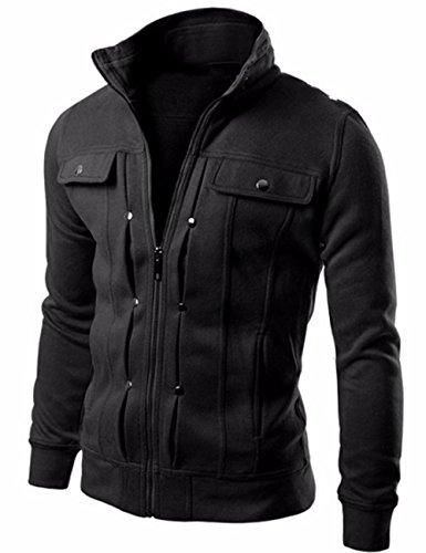 EMMA Herren Herbst Winter Slim Fit Mäntel Schlank Baumwolle Cardigan Jacke Casual Warm Outdoor Reißverschluss Pullover Tasche Sports Kashmir Stehkragen Sweatshirt Jacke Outwear(BL,M)
