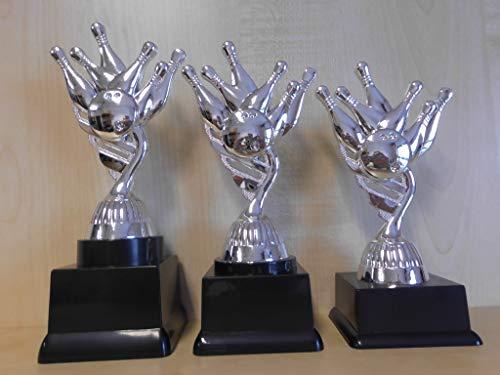 Fanshop Lünen Bowling - Bowlen - Pokale 3er Serie - Sieger - Turnier - Kids - Trophäe - Geburtstag - (Silber) - Figur - Pokal - mit Gravur - (pf111) -