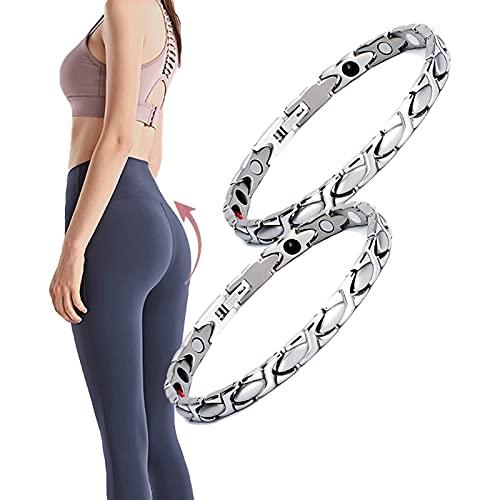 Pulsera magnética de acero de titanio para mujer, 2 unidades, para terapia magnética, para alivio del dolor de artritis y túnel carpiano, brazalete personalizado (plata)
