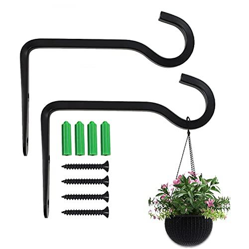 HENGBIRD Juego de 2 ganchos para colgar plantas, soporte de pared, soporte para macetas, jardín con tornillos para casetas de pájaros, plantas