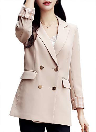 Blazer - Chaqueta para mujer con doble botón, mangas largas, con botones, color negro - Beige - S