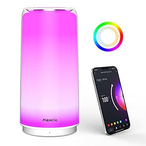 Maxcio Smart LED Lampada da Comodino, Lampada da Tavolo dimmerabile Compatibile con Alexa e Google Home, Luce Notturna LED con Controllo Tattile e Maxcio APP, RGBCCT Adatto per Camera da Letto