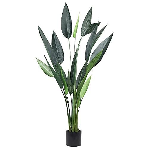 JonesHouseDeco Árbol Artificial de Ave del Paraíso 155 cm, Plantas Artificiales Tropicales Verde,...