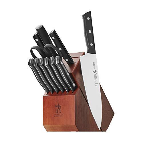 J.A. Henckels International Dynamic Kitchen Knife Set, 12-pc, Chef Knife Set, Knife Sharpener, Paring Knife, Utility Knife, Dark Brown