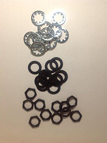 12 sets US Thread 3/8 inch x 32 Black Finish Potentiometer Nuts Trim Lock Washers