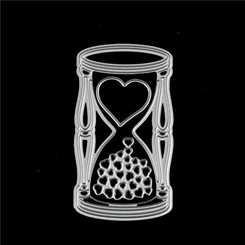 YQCZ Schneidform 8 * 4,3 cm Metall Stanzformen Liebe Trichter Silber Schablonen DIY Scrapbooking Vorlage Fotoalbum Decor Craft Stanzen