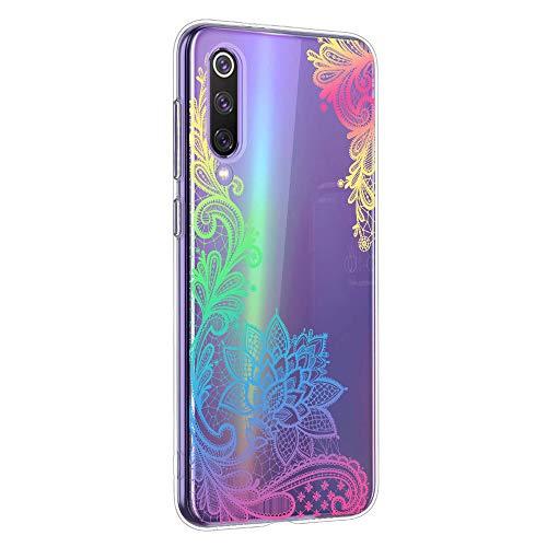 Oihxse Mandala Motif Case Compatible pour Huawei Mate 30 Coque Transparente Silicone TPU Souple Protection Etui Ultra Slim Mehndi Floral Datura Dentelle Housse Bumper (A4)