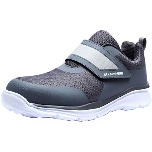 [LARNMERN] 安全靴 ベルクロタイプ メンズ レディ ース おしゃれな安全靴 軽量 衝撃吸収 通気性 耐滑底 スニーカー ワーク 鋼鉄芯入り 反射材付 ファスナー マジックテープ 作業靴 ナースシューズ 男女兼用(ダークグレーホワイト,28.5cm