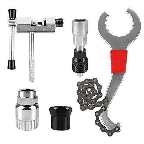 yue Bicycle Repair Tool Set of 5, Mountain Bike Cassette Removal Tool with Chain Whip and Auxiliary Wrench, Portable Emergency Accessories Kit for Bicycle Sprocket Removal