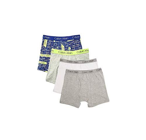Calvin Klein Jungen Boys Underwear 4 Pack Boxer Briefs-Fashion Value Pack Slip, Blau Streifen Weiß Grau, Klein