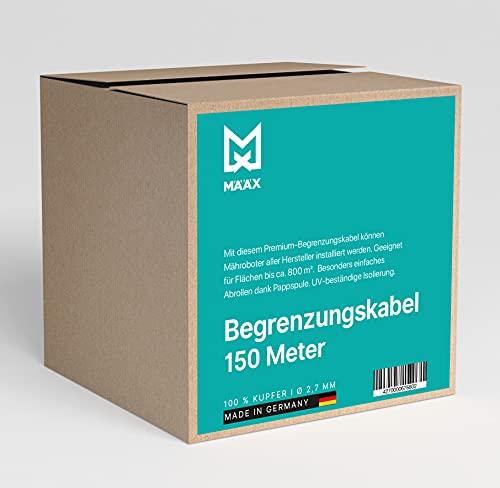 määx® - Begrenzungskabel für Mähroboter   Begrenzungsdraht für Rasenmäher I 100% Kupfer Draht I 2,7 mm I Rasenroboter Zubehör   Hergestellt in Deutschland   150m
