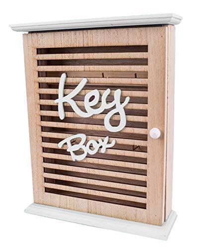 mixed24 Schlüsselkasten Schlüsselbox Schlusselaufbewahrung Aufbewahrung für Schlüssel 6 Haken Holz (Weiß)