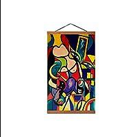 ピカソ抽象画ヴィンテージポスターレトロポスター写真現代のキャンバスプリント寝室のホームオフィスの装飾キャンバスにプリント、フレーム付き50x75cm