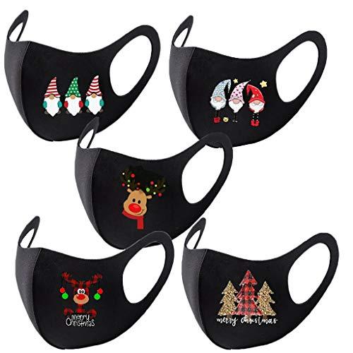 Eaylis 5 Stück Face Mask Multifunktionstuch Weihnachten Maske Waschbar Wiederverwendbar Stoffmaske Baumwolle Mund-Nasen Bedeckung Verstellbar Atmungsaktiv Halstuch Schals für Herren Damen (A-2)