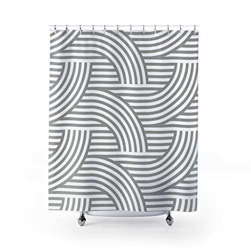 DKISEE Deco Style Wave Pattern Light Gray Custom Design Shower Curtain, Bathroom Decor Inches 71x71 inches
