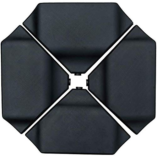 Abba Patio 4PCS 260LB Offset Umbrella Base Plastic Cantilever Base Weights Plate Set, Dry or Wet Sand Filled Umbrella Base for Cantilever Offset Patio Umbrella, Black