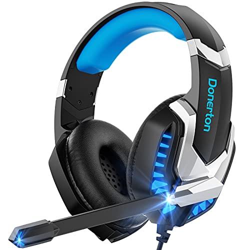 Donerton Gaming-Headset, Over-Ear-Gaming-Kopfhörer mit Mikrofon mit Geräuschunterdrückung, Stereo-Bass, Surround-Sound, LED-Licht, weiche Memory-Ohrenschützer, PS4, Gaming-Headset, kompatibel mit PC, Laptop, Tablet