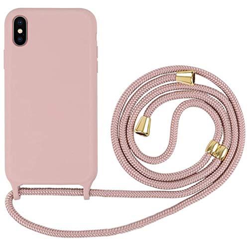 Oihxse Handykette Kompatibel mit iPhone 12 Pro Cover mit Kette, Necklace Hülle mit Band - Hülle mit Kordel zum Umhängen Liquid Silikon-Handyhülle Rutschfester Stoßfeste vor Stürzen Hülle-A4