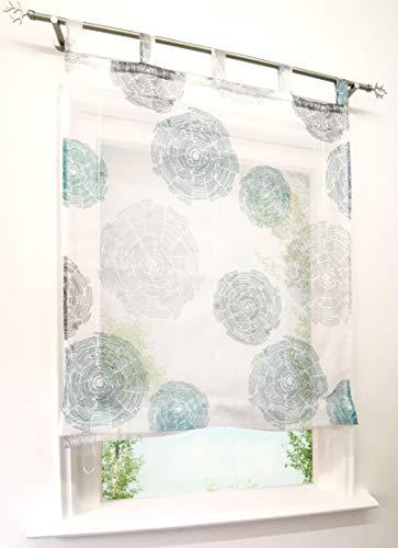 Raffrollo mit Luftig Druck Design Schlaufen Rollos Transparent Voile Vorhang Deko für Haus (B*H 120 * 150cm, Blau)